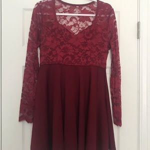 Red Long Sleeved Short Formal Dress